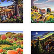 seasonal farm country folk art-set of 4 farms prints amricana American Americana print series Poster