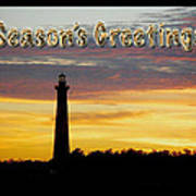 Season's Greetings Card - Cape Hatteras Lighthouse Sunset Poster