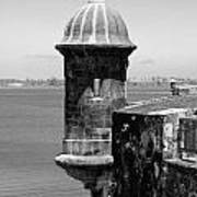 Sentry Tower Castillo San Felipe Del Morro Fortress San Juan Puerto Rico Black And White Poster by Shawn O'Brien