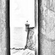 Sentry Tower View Castillo San Felipe Del Morro San Juan Puerto Rico Black And White Line Art Poster