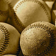 Sepia Baseballs Poster
