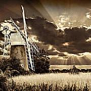 Sepia Sky Windmill Poster