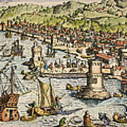 Seville: Departure, 1594. /ndeparture For The New World From Sanlucar De Barrameda, The Port Of Seville, Spain. Line Engraving, 1594, By Theodor De Bry Poster