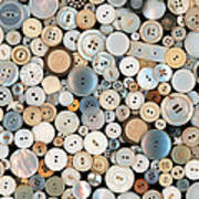 Sewing - Buttons - Lots Of White Buttons Poster