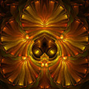 Shattered Five Leaf Clover Abstract Poster
