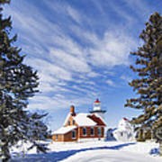 Sherwood Point Lighthouse And New Snow -  - D001650 Poster