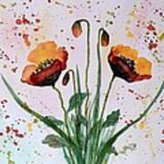 Shining Red Poppies Watercolor Painting Poster