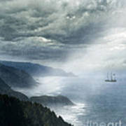 Ship Off Rugged Coast Poster