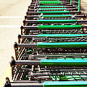 Shopping Carts Stacked Together Poster