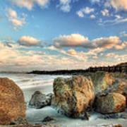 Shoreline Rocks And Fence Posts Folly Beach Poster by Jenny Ellen Photography