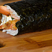 Shrimp Sushi Roll On Cutting Board Poster