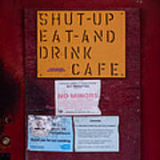Shut-up Eat-and Drink Cafe In Palouse Washington Poster
