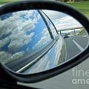 Side-view Mirror Reflecting Clouds Poster