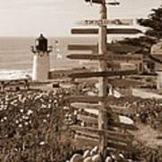 Sign At Point Montara Lighthouse - Sepia Poster