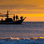 Silhouette Fisherman On Boat In Sunset Huahin Poster by Arthit Somsakul