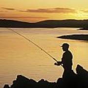 Silhouette Of A Fisherman Fishing On Poster