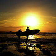 Silhouette Surfers Poster