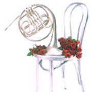 Silver French Horn On Silver Chair Poster