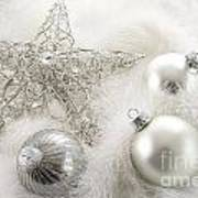 Silver Holiday Ornaments In Feathers Poster by Sandra Cunningham