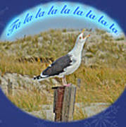 Singing Seagull Christmas Card Poster