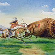 Sioux Hunting Buffalo On Decorated Pony Poster