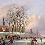 Skaters On A Frozen River Before Windmills Poster