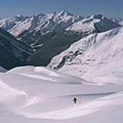 Skier Phil Atkinson Heads Down Mount Poster