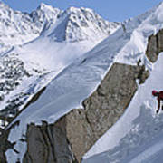 Skier Phil Atkinson Skis A Gully Poster