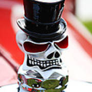 Skull With Top Hat Hood Ornament Poster