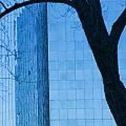 Sky Scraper Tall Building Abstract With Windows Tree And Reflections No.0066 Poster
