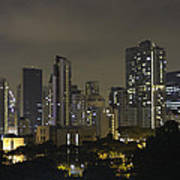 Skyline Of Singapore At Night As Seen From An Apartment Complex Poster