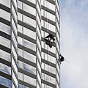 Skyscraper Window-washers - Take A Walk In The Clouds Poster by Christine Till