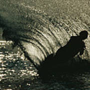 Slalom Waterskier Silhouette Poster