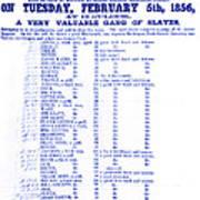 Slave Auction Notice Poster