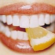 Slice Of Lemon Between Teeth Poster