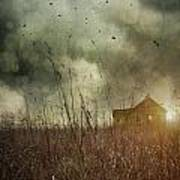 Small Abandoned Farm House With Storm Clouds In Field Poster by Sandra Cunningham