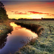 Small River At Sunrise Poster by H-L-Andersen