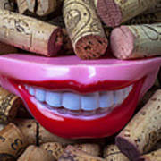 Smile Among Wine Corks Poster