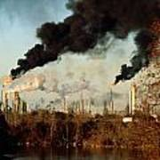 Smoke Billows From The Exxon Oil Poster