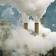 Smoking Chimneys Of A Paper Mill Polluting The Air Poster