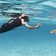 Snorkeler Photographing Green Turtle Poster