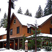 Snow Atop The Inn At Longmire Poster by Kathy  White