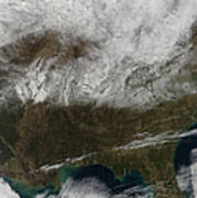 Snow Cover Stretching From Northeastern Poster by Stocktrek Images