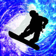 Snowboarder In Whiteout Poster