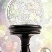 Snowglobe With Ornaments Against Colored Background Poster
