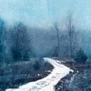Snowy Foggy Rural Path Poster