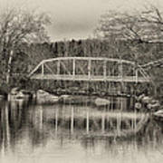 Snyder Road Bridge At Green Lane Park In Sepia Poster