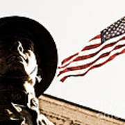 Soldier And Flag Poster