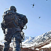 Soldier Patrols Through Alaska's Poster