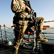 Soldier Stands Watch Aboard Uss Momsen Poster